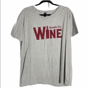 Anvil gray thankful for wine T-shirt 2xl